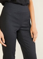 Dotted Print Pull-On Pants, Black