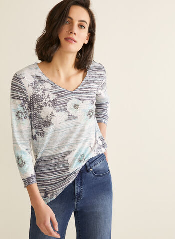 Burnout Print T-Shirt , Blue,  burnout, t-shirt, 3/4 sleeve, v-neck, rhinestones, spring 2020