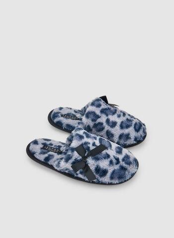 Leopard Print Slippers, Blue, hi-res,  slippers, sleepwear, leopard print, fall 2019, winter 2019