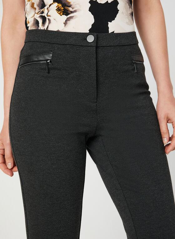 Pantalon coupe signature à détails similicuir, Gris