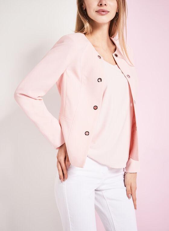 Open Front Grommet Jacket , Pink, hi-res