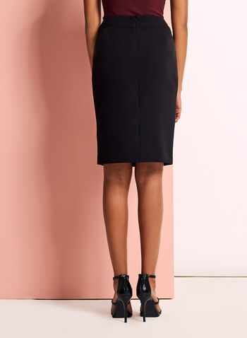 Back Slit Pencil Skirt, Black, hi-res