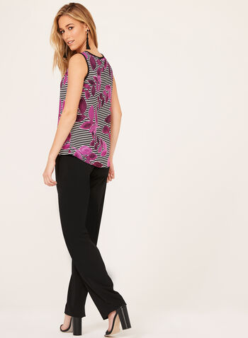 Floral & Stripe Print Tank Top , Black, hi-res
