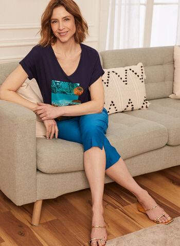 T-shirt à imprimé géométrique et sequins, Bleu,  haut, t-shirt, encolure en V, manches courtes, épaules tombantes, imprimé géométrique, sequins, printemps été 2021
