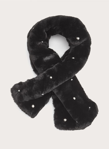 Pearl Embellished Faux Fur Scarf, Black, hi-res