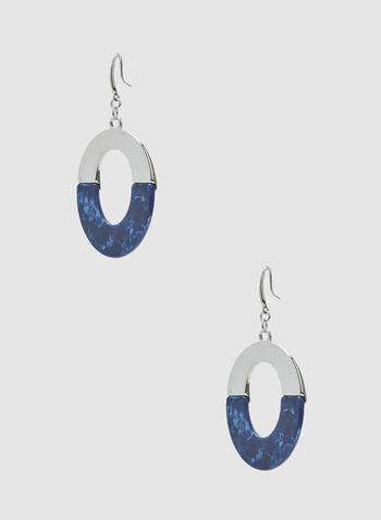Oval Dangle Earrings, Blue, hi-res
