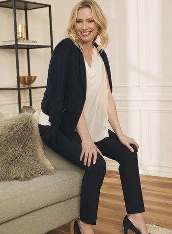 Sleeveless Drape Neck Blouse, White,  fall winter 2020, blouse, drape, sleeveless, asymmetric, chiffon