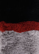 Faux Fur Colour Block Scarf, Black, hi-res
