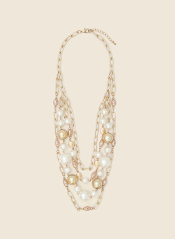 Pearl & Chain Necklace, Gold,  necklace, pearl, bead, metallic, chain, carabiner, golden, fall winter 2020