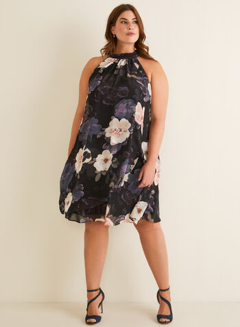Floral Print Cleo Neck Dress, Black,  dress, day, floral, chiffon, wrap, sleeveless, cleo neck, spring summer 2020