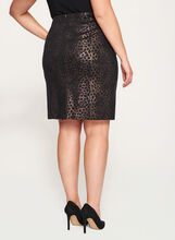 Foil Animal Print Ponte Skirt, Black, hi-res