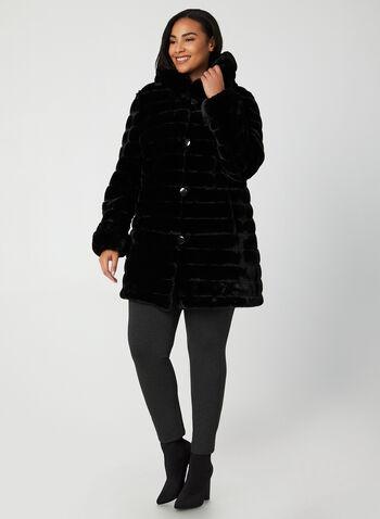 Nuage - Manteau réversible à capuchon, Noir,  manteau, capuchon, réversible, fausse fourrure, nylon, boutons, automne hiver 2019