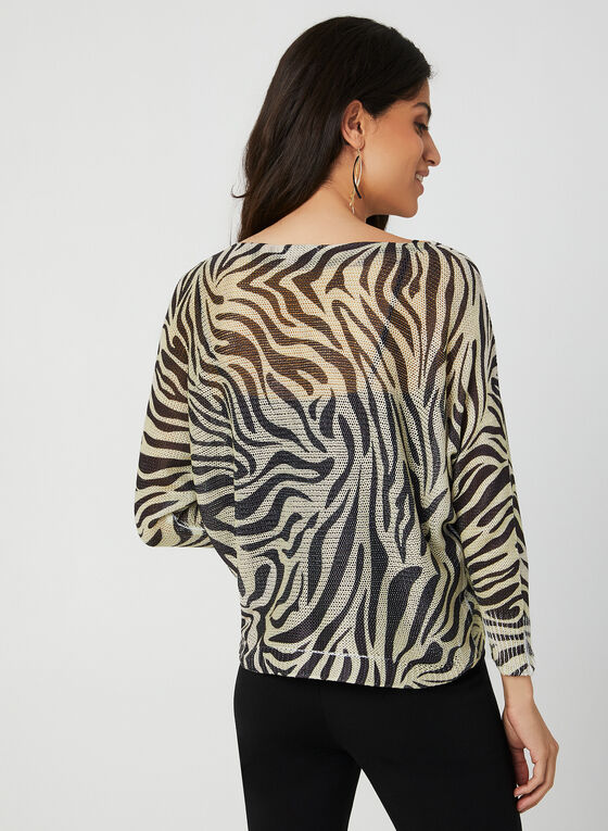 M Made in Italy - Pull animalier en tricot, Blanc