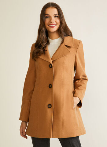 Structured Wool Blend Coat, Brown,  fall winter 2020, coat, princess cut, structured, wool blend, fleece, notch collar, long sleeve, button, pocket, warm, winter