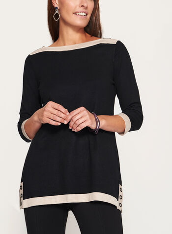 3/4 Sleeve Zipper Trim Knit Tunic Sweater, , hi-res