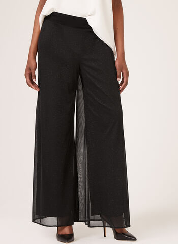 Wide Leg Glitter Mesh Pants, Black, hi-res