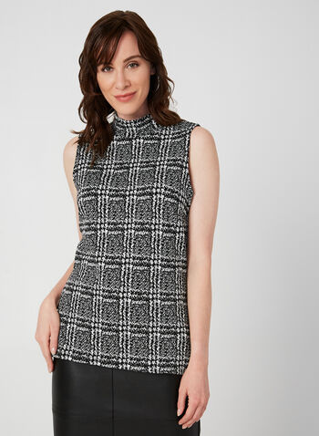 Sleeveless Mock Neck Top, Black, hi-res,  top, sleeveless, plaid, jacquard knit, fall 2019, winter 2019