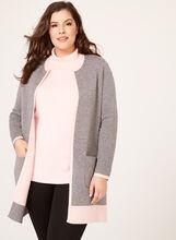 Contrast Double Knit Cardigan, Grey, hi-res