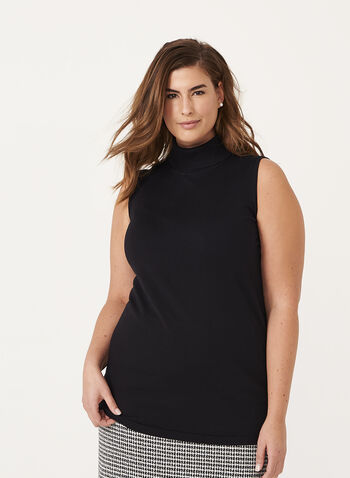 Sleeveless Funnel Neck Sweater, Black, hi-res