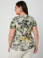 T-shirt à imprimés variés et cristaux, Vert, hi-res