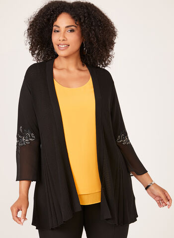 Embroidered Edge To Edge Cardigan, Black, hi-res