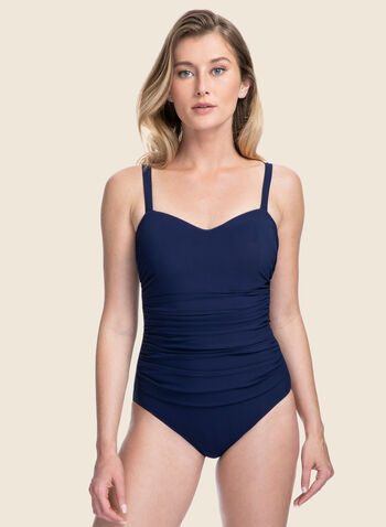 Profile by Gottex - Ruched Front One-Piece Swimsuit, Blue,  swimsuit, swimwear, one-piece, ruched, monochrome, underwire, spring summer 2020