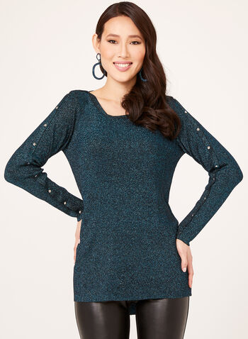 Lurex Knit Tunic, Blue, hi-res
