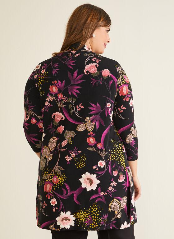 Haut ouvert motif floral, Noir