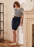 Stripe Print Elbow Sleeve Tee, Blue