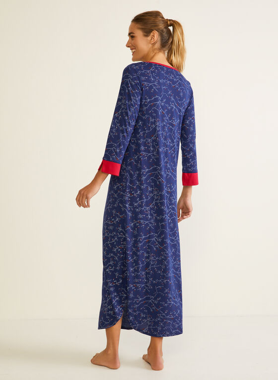 Robe de nuit longue à motif, Bleu