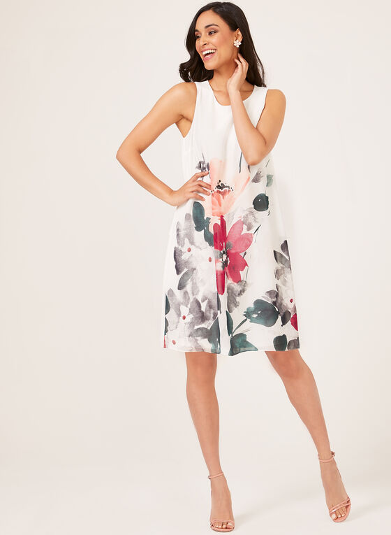 Sleeveless Chiffon Floral Print Dress, White, hi-res
