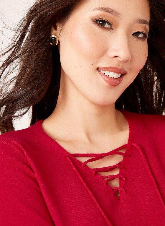 Pull tricot avec col V lacé, Rouge, hi-res