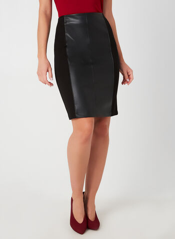 Faux Leather Straight Skirt, Black, hi-res,  short skirt, faux leather, skirt, fall 2019, winter 2019