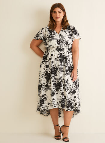 Floral Print Midi Dress, White,  spring summer 2020, surplice neckline, short sleeves, crepe fabric, midi