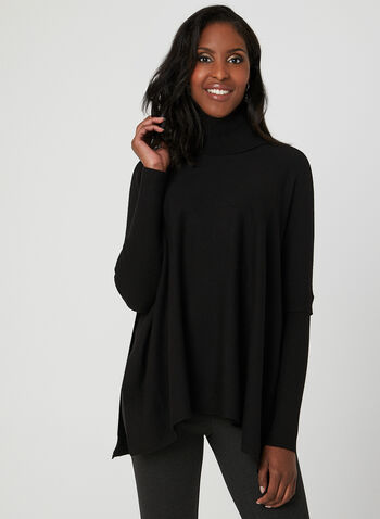 Charlie B - Knit Poncho Sweater, Black, hi-res