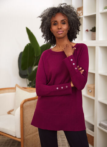 Boat Neck Sweater, Purple,  fall 2021, sweater, shirt, top, blouse, tunic, knit, ribbed, hem, long sleeves, buttons, boat neck, neckline, comfy, fabric, side slits