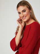 Bell Sleeve Knit Top, Red, hi-res