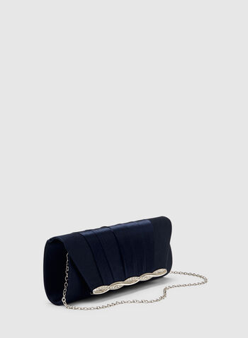Satin Flapover Clutch, Blue, hi-res