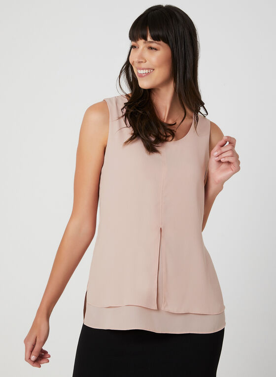 Sleeveless Crepe Top, Purple