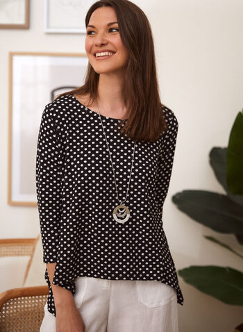 Charlie B - Polka Dot Blouse, Black,  spring summer 2021, tops, blouses, made in Canada, scoop neck, round neck, dotted, spotted, asymmetrical,