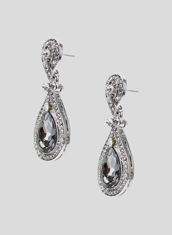 Faceted Stone Teardrop Earrings, Grey, hi-res