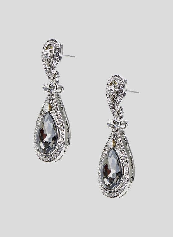 Boucles d'oreilles avec pierre et cristaux, Gris, hi-res