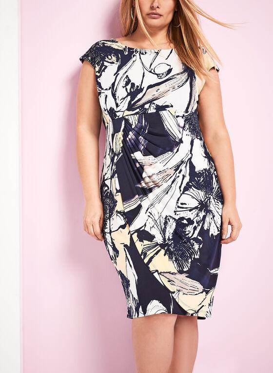 Abstract Floral Print Dress, Blue, hi-res