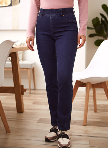 Straight Leg Pull-On Jeans, Blue,  spring summer 2021, jeans, denim, bottoms, pants, pull on, classic fit, metal rivets,
