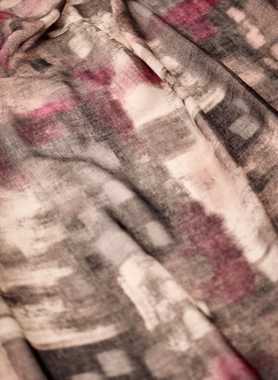 Abstract Print Lightweight Scarf, Pink