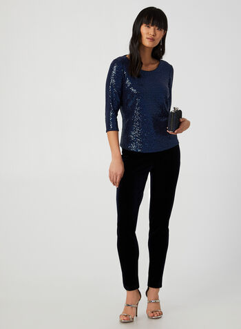 ¾ Sleeve Sequin Top, Blue,  canada, 3/4 sleeves, sequin top, top, sequins, holiday, fall 2019, winter 2019