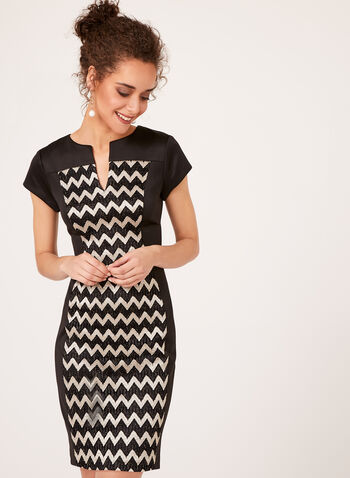 Zig Zag Print Scuba Dress, Black, hi-res