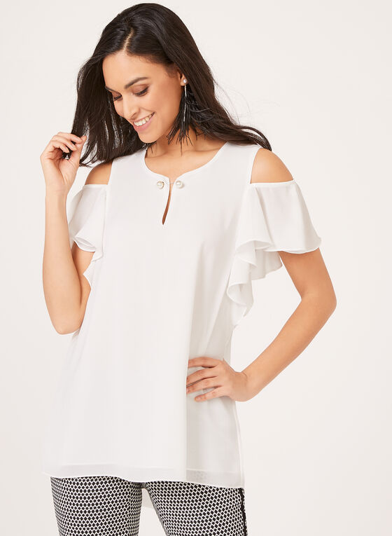 Ness - Ruffled Sleeve Cold Shoulder Blouse, Off White, hi-res