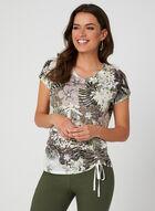 T-shirt fleuri à cristaux et nœud, Vert
