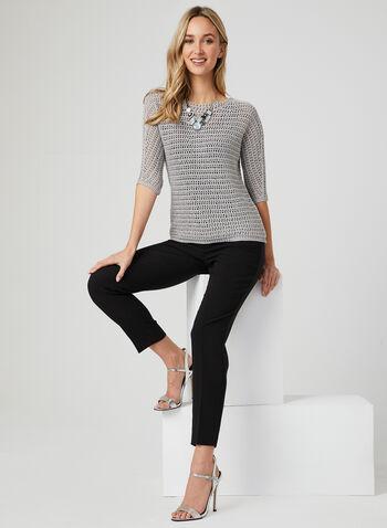 Crochet Elbow Sleeve Top, Grey, hi-res